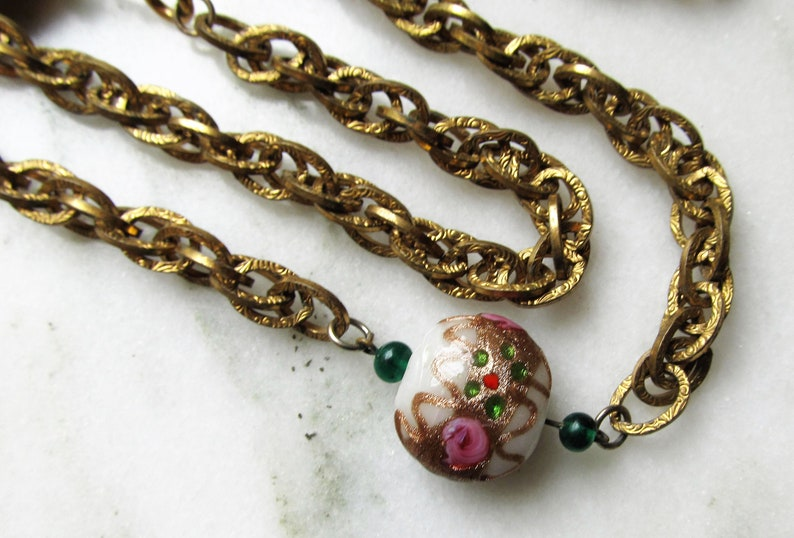Victorian Revival Art Glass Wedding Cake Beads Book Chain Vintage 54 Necklace