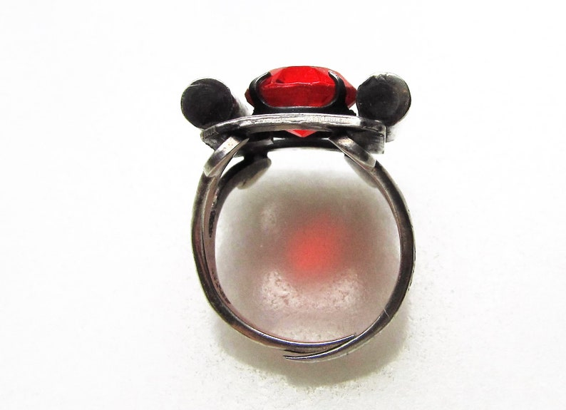 Estate Mexico Silver Red Stone Ring