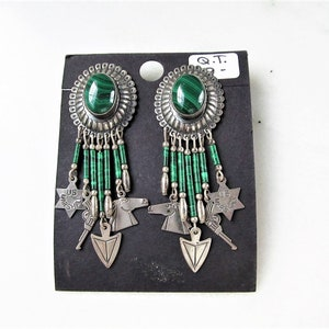 Vintage Mexican Earrings with Faux Green Malachite Sterling Silver Concho Modernist Studs Jewelry Gift