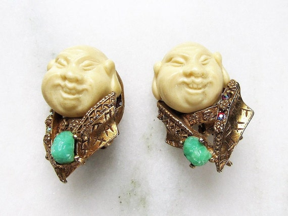 Vintage HAR Signed Buddha Rhinestone Clip Earrings
