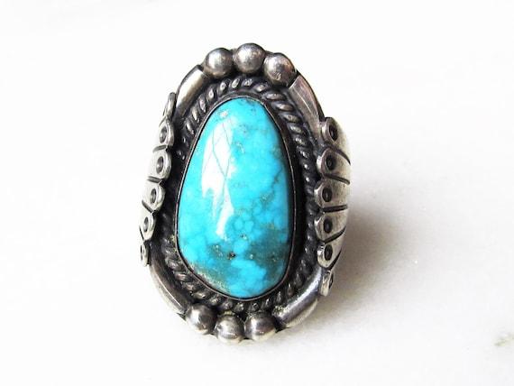 Estate Navajo Sterling Silver Spiderweb Turquoise