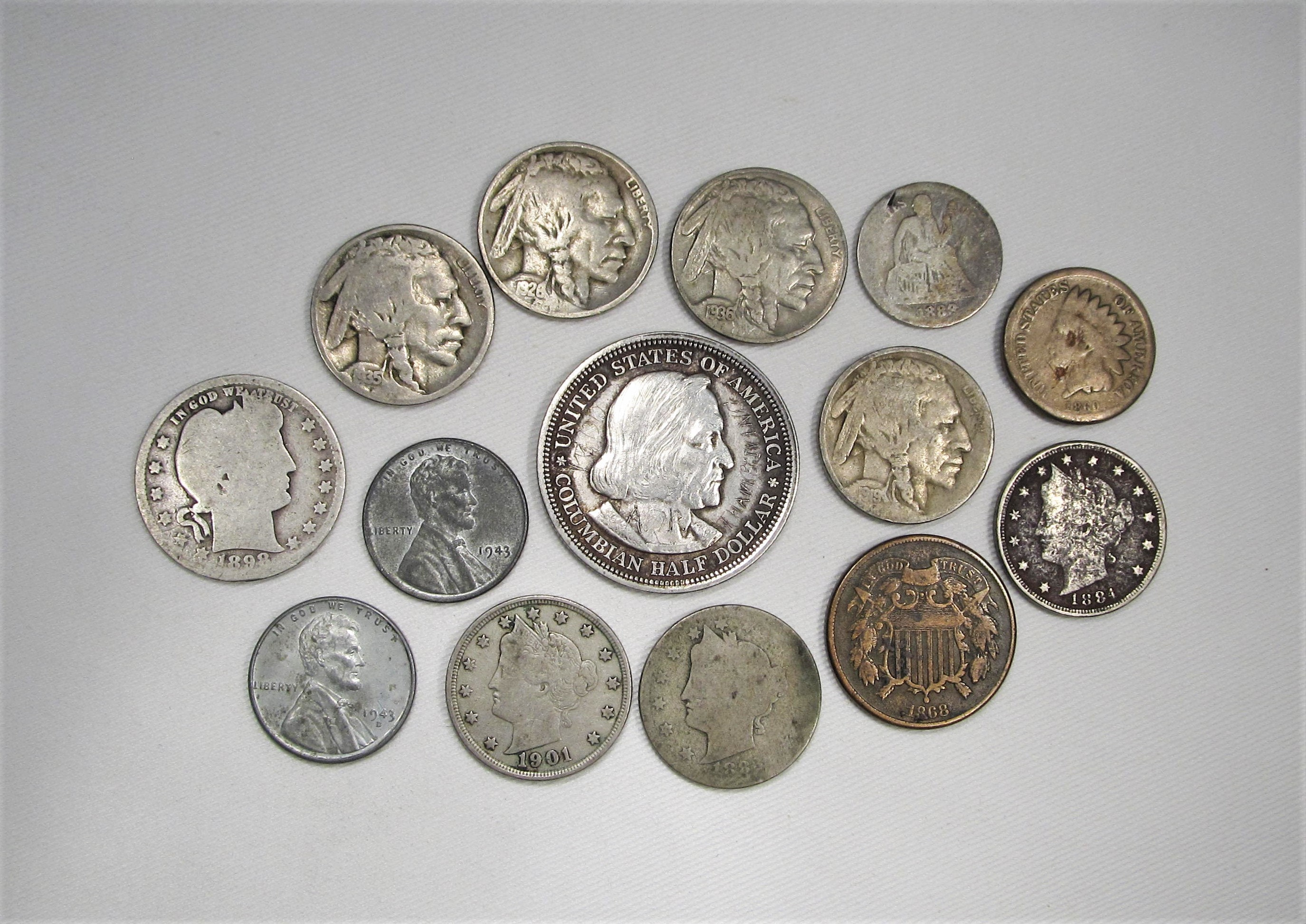 Vintage Us Coin Lot 14 Piece Indian Steel Buffalo Liberty Barber Standing Columbian