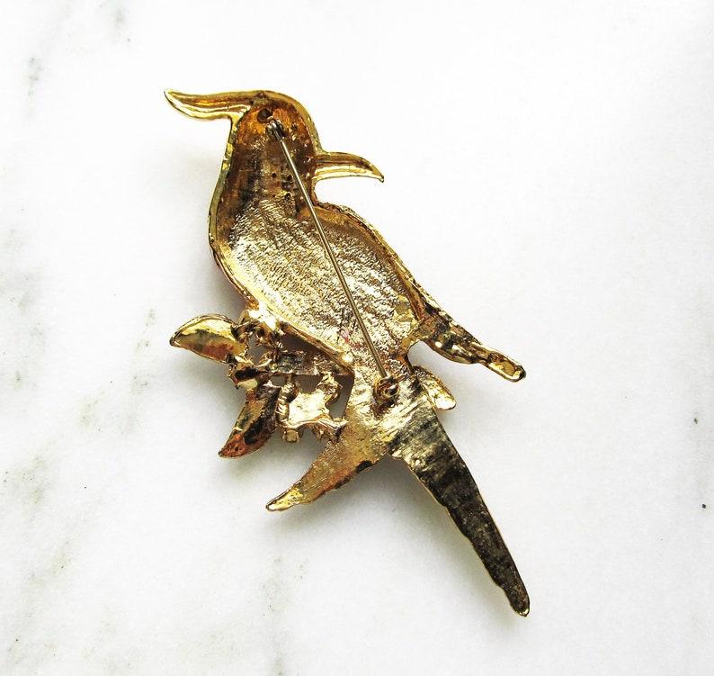 Estate Colorful Enamel /& Rhinestone Tropical Bird Brooch HUGE