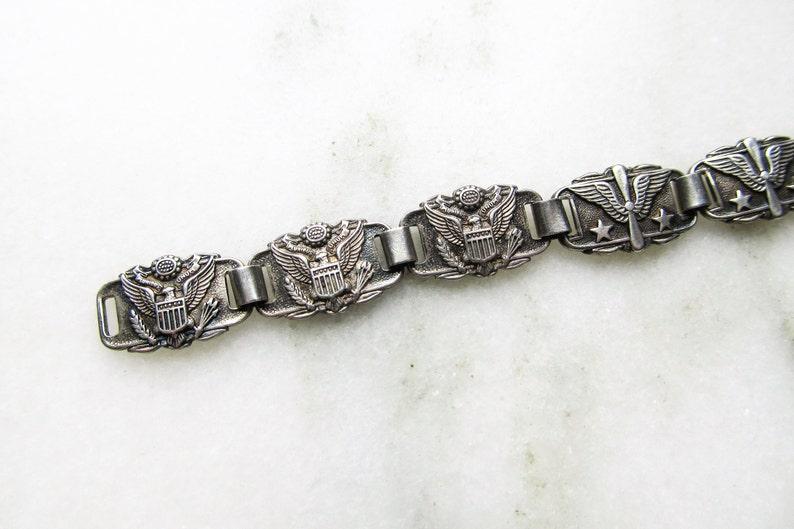 Army Great Seal /& Air Corp Prop Wings Sweetheart Link Bracelet ETC1333 WWII U.S