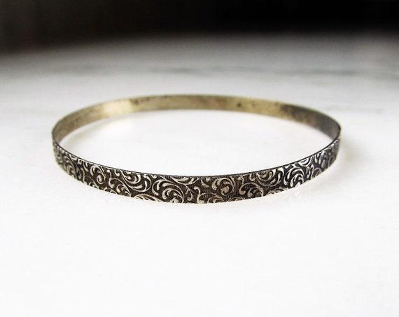 Etched Design Pattern Siam Sterling Silver Bangle Bracelet
