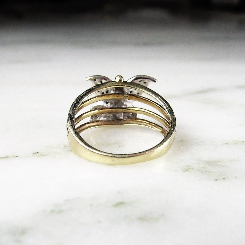 Diamond Butterfly 10K Yellow Gold Vintage Ring Sz 7 ETC1962