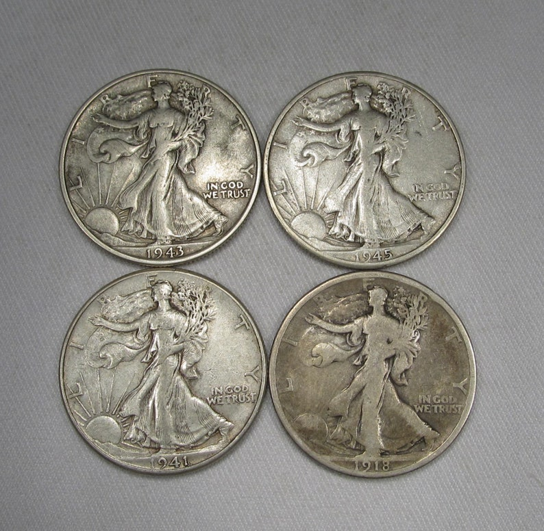 Walking Liberty Silver Half Dollar Lot of 4 Coins 1918-1945 AG136