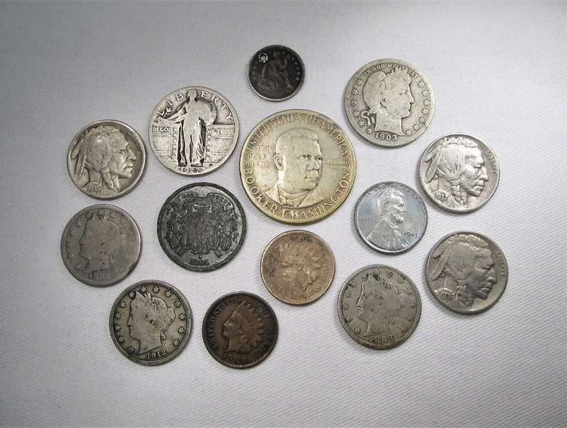 Vintage Us Coin 14 Piece Lot Indian Steel Liberty Silver Seated Barber Standing