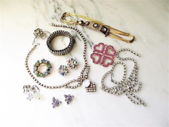 Vintage Rhinestone Costume Jewelry Lot Necklace Br