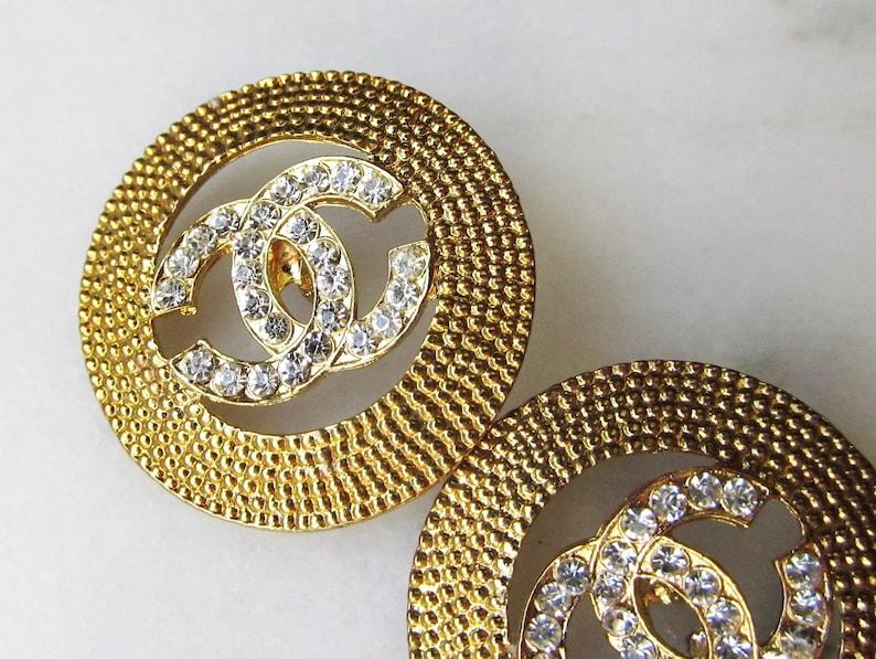 Vintage Logo Rhinestone Buttons Gold Toned ETC1404