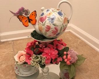 Tea Party Floral Teapot Centerpiece