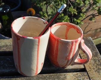 Candy striper coffee mug and pencil holder