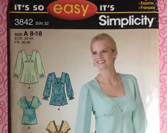 25ef4380b Pullover Tunic Top Empire Waist It s So Easy Simplicity 3842 Size A 8 10 12  14 16 18 Sewing Pattern Uncut Factory Folded UC FF Womens Misses