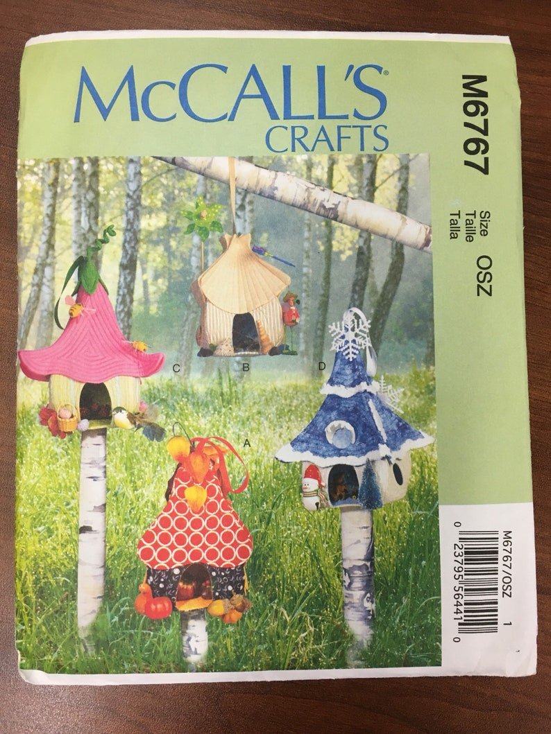 Fairy Houses Fabric Hanging Unique Fairies McCalls Crafts M 6767 Sewing Pattern Uncut UC Factory Folded Ff