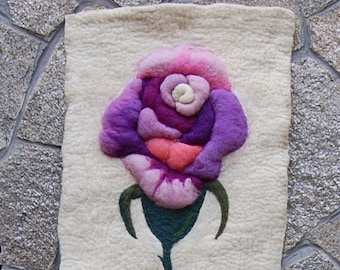 Felt Tapestry,Felt Pink Rose Tapestry,Felt Wall Picture,Felt Tapestry of Rose,Fiber Atr, Present for her,Wall hanging, Home Decor,Wall Decor