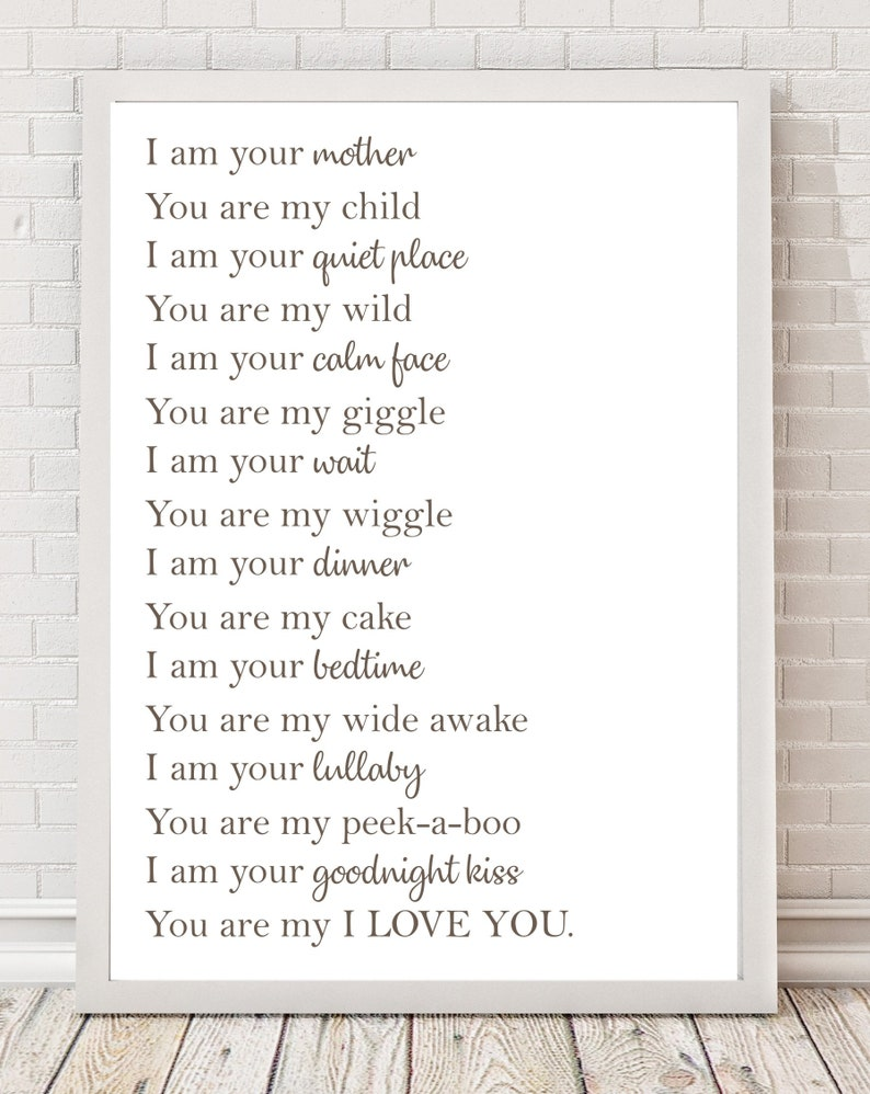 I Love You Mother and Child Poem A4 Poster Print PO107