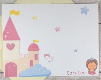 PERSONALIZED Flat Note Card Set - Princess / Castle  / Unicorn / Greeting Card / Just A Note / Gift / A2 Size / Cute / Kawaii