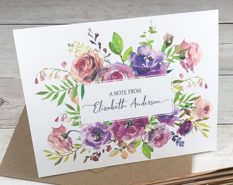 PERSONALIZED Folded Card Set - Spring Blossoms / Greeting Card / Just A Note / Gift / A2 Size / Birthday / Bridal / Stationery / Natural