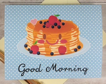 Folded Notecard Set - Good Morning / Breakfast / Pancakes / Greeting Card / Cute / Kawaii / Gift / A2 Size / Hello / Note Card / Stationery