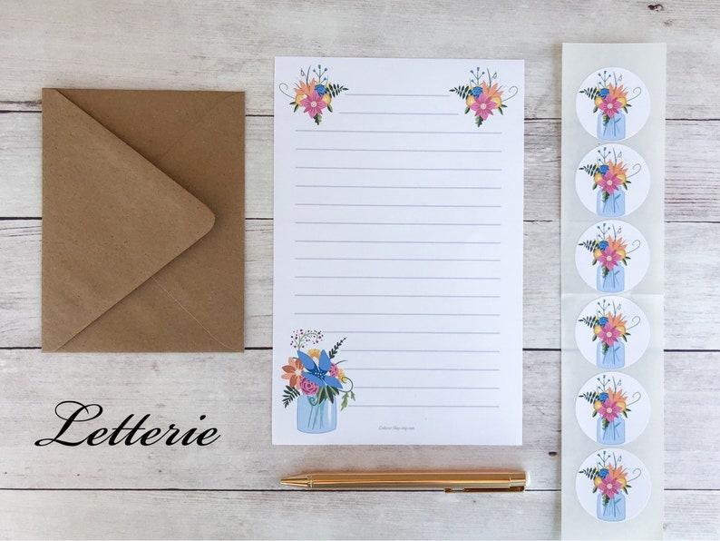 Cottage Nature Country Mason Jar Letter Paper Floral Mason Jar Floral Stationery Set Rustic Letter Writing Set