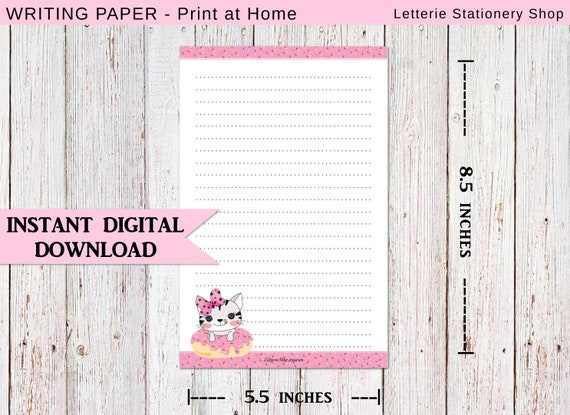 photograph about Stationary Printable called PRINTABLE Letter Paper - Cat Stationery, Donut Cat Stationary, Prompt PDF Down load, Printable Stationary Paper, Lovable Stationery