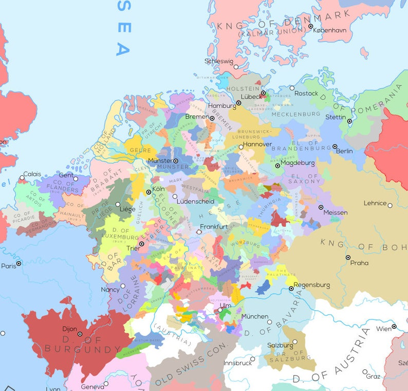 Calais Europe Map.Europe And Surrounding Areas In The Year 1444 A D Etsy