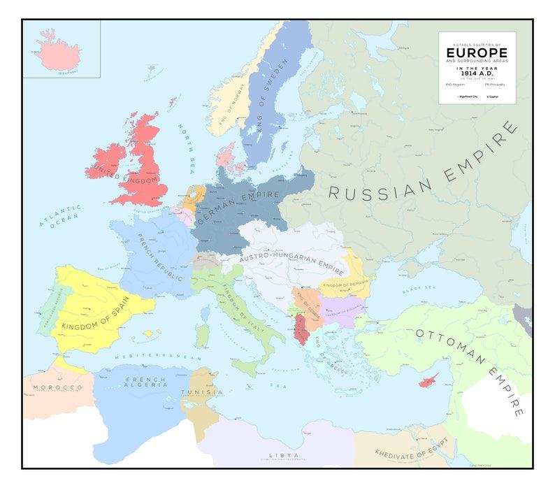 Europa und Umgebung im Jahr 1914 n. Pre-WWI | Etsy