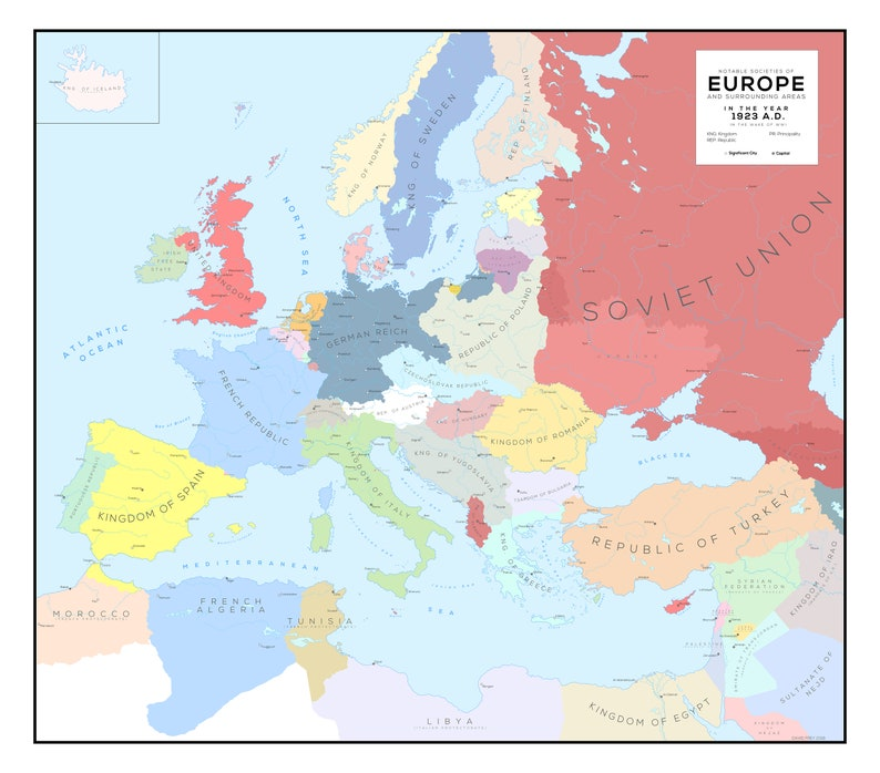 Interwar Europe Map.Europe And Surrounding Areas In The Year 1923 A D Interwar Etsy