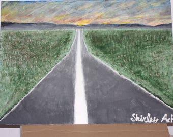 open road - acrylic paint