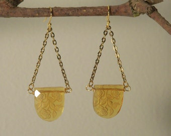 ART DECO CZECH Amber Glass; Floral Etching; Re-created Earrings