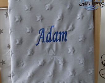 Personalised Baby Blanket Luxury White Bubble Style Pink Script Name Feet Gift