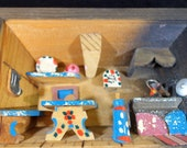 Austria Handmade ( ) Wood Diorama Shadow Box Kitchen Scene Folk Art -small