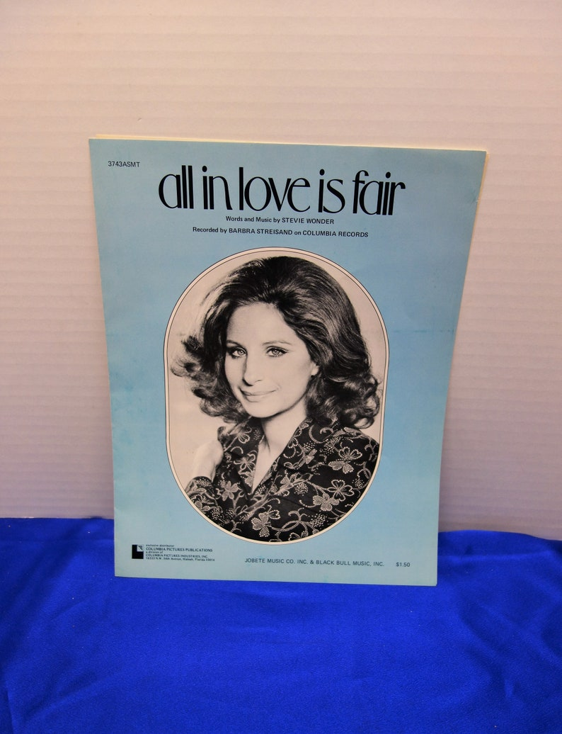 All in Love is Fair  Barbara Streisand  1974 Sheet Music    image 0