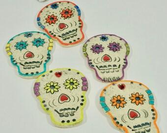 5 Ceramic sugar skull strand, sugar skull, handmade skull, day of the dead, skull ornament