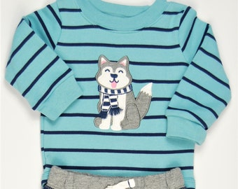 Winter Penguin G Tube Bodysuit with Pants Size 3 Months, Made to Order
