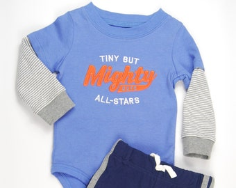 """G Tube Bodysuit with Pants """"Tiny but Mighty"""" Size 9 Months, Adapted to Order"""