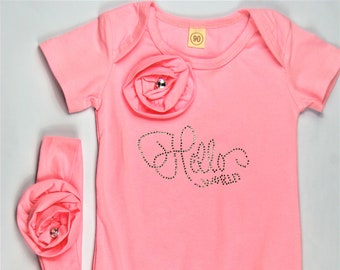 Size 6-12 Month Hello World G Tube Playsuit with Headband