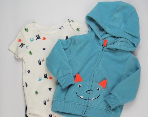 9 Month, 3 Piece Monster G Tube Bodysuit, Pants & Fleece Sweatshirt, Adapted to Order