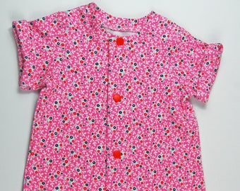 3-6 Month Flower Snap Up/Open Playsuit Romper with Shorts