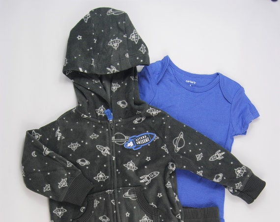 "3 Piece ""Beyond Awesome"" G Tube Bodysuit, Pants & Fleece Sweatshirt 6 Months, Adapted to Order"