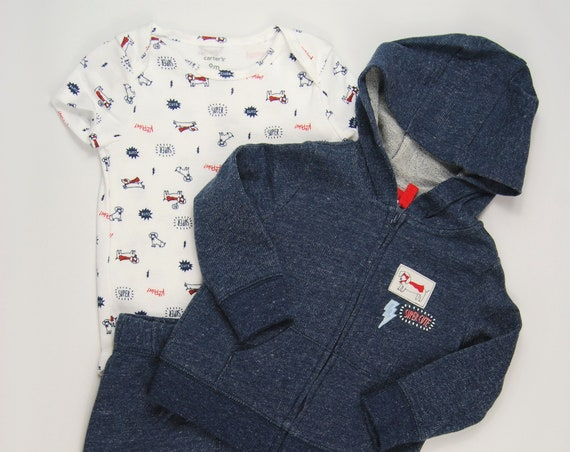 "3 Piece Dog ""Super Cute"" G Tube Bodysuit, Pants &  Sweatshirt 9 Months, Adapted to Order"