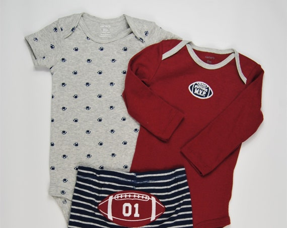 9 Month Football G Tube Bodysuit with Pants, Adapted to Order