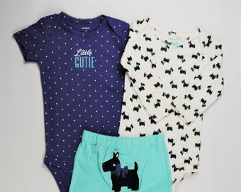 """3 Piece Dog """"Little Cutie"""" G Tube Bodysuits x 2, Pants Size 9 Months, Adapted to Order"""