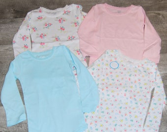 4 Pack of  Flower Long Sleeve G Tube Bodysuits, Made to Order 24 Month
