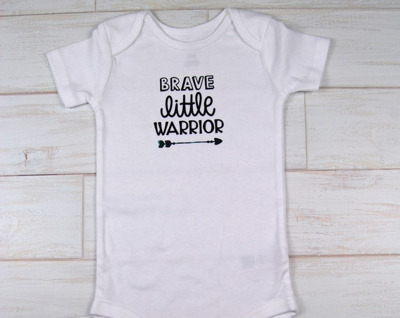 "G Tube Bodysuit ""Brave Little Warrior"" , Adapted to Order"