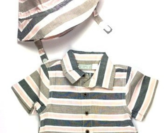 Striped G Tube Romper with Hat, Size 12-18 Months, Adapted to Order