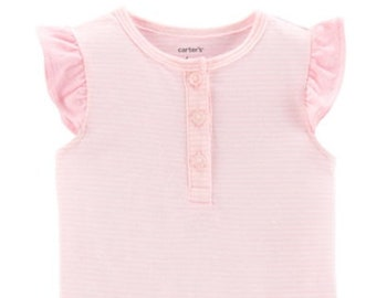 Pink Striped Henley G Tube Bodysuit, Size 9 Months, Adapted to Order