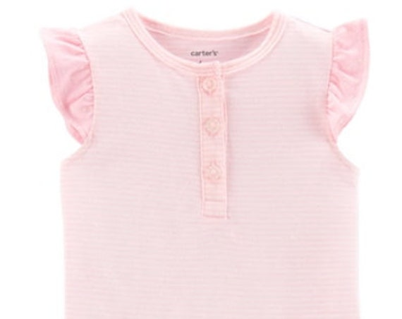 12 Month Pink Striped Henley G Tube Bodysuit, Adapted to Order