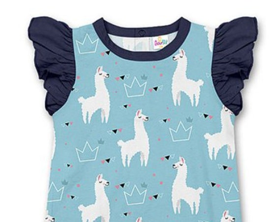 G Tube Blue Llama Romper, Adapted to Order