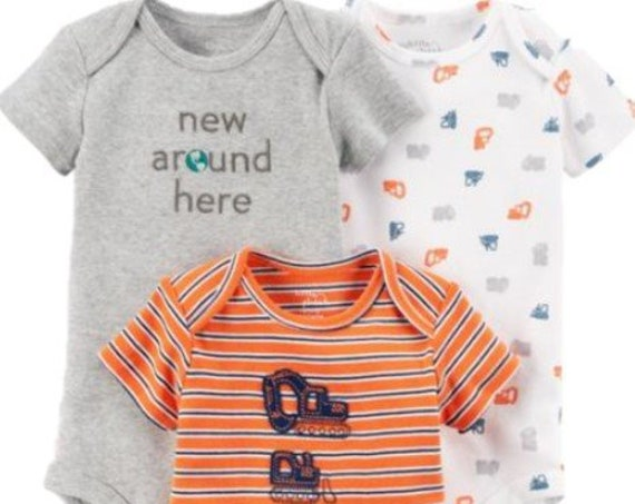 3 Pack of Construction ORGANIC Cotton G Tube Bodysuits, Adapted to Order, 9 Month